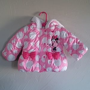 Disney Baby Girls Minnie Mouse Bow Puffer Coat